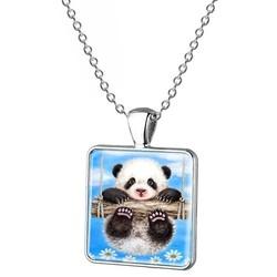 Fako Bijoux® - Ketting - Cabochon - Vierkant - Panda - Blauw