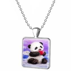 Fako Bijoux® - Ketting - Cabochon - Vierkant - Panda - Blauw/Paars