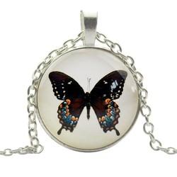 Fako Bijoux® - Ketting - Cabochon - Vlinder - Zwart