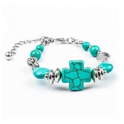 Fako Bijoux® - Armband - Turquoise - Kruis Vierkant