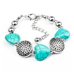 Fako Bijoux® - Armband - Turquoise - Rond Hart
