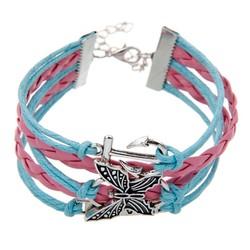 Fako Bijoux® - Multi Armband - Anker Vlinder Love - Lichtblauw/Roze