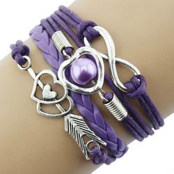 Fako Bijoux® - Multi Armband - Infinity Hart Cupido - Paars