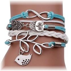 Fako Bijoux® - Multi Armband - Infinity Uiltjes Vogel - Lichtblauw