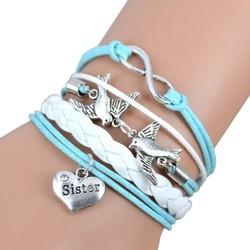 Fako Bijoux® - Multi Armband - Infinity Vogels Sister - Lichtblauw/Wit