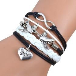 Fako Bijoux® - Multi Armband - Infinity Vogels Sister - Zwart/Wit