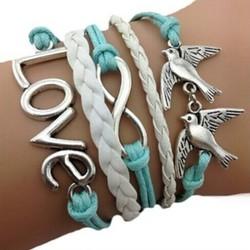 Fako Bijoux® - Multi Armband - Vogels Infinity Love - Lichtblauw