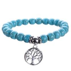 Fako Bijoux® - Armband - Turquoise Kralen - Levensboom - 8mm