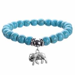 Fako Bijoux® - Armband - Turquoise Kralen - Olifant - 8mm