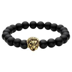 Fako Bijoux® - Buddha Armband - Leeuw - Zwart - Goudkleurig
