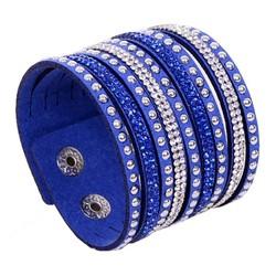 Fako Bijoux® - Armband - Breed - Strass - Blauw