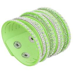 Fako Bijoux® - Armband - Breed - Strass - Lichtgroen