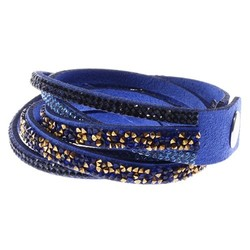 Fako Bijoux® - Wikkelarmband - Deluxe - Donkerblauw - Goudkleurig