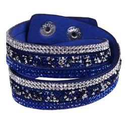Fako Bijoux® - Wikkelarmband - Deluxe - Donkerblauw - Zilverkleurig