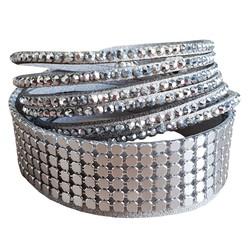 Fako Bijoux® - Wikkelarmband - Metal Bling - Grijs