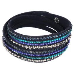 Fako Bijoux® - Wikkelarmband - Smal - Blauw/Turquoise
