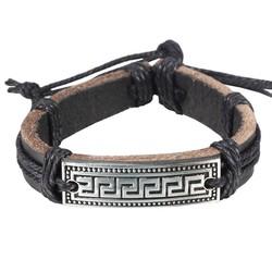 Fako Bijoux® - Armband - Leder - Egypte - Zwart