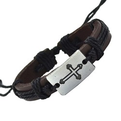 Fako Bijoux® - Armband - Leder - Kruis - Zwart