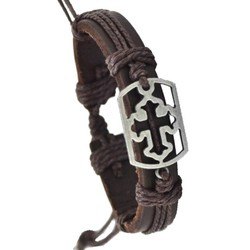 Fako Bijoux® - Armband - Leder - Kruis Open Rechthoek - Bruin