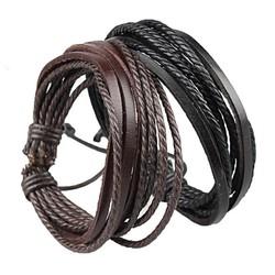 Fako Bijoux® - Armband - Leder - Multilayer - Duo Set