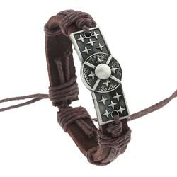 Fako Bijoux® - Armband - Leder - Plate Schild - Bruin
