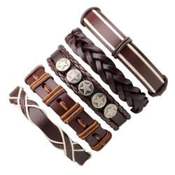 Fako Bijoux® - Armband - Leder - Set Deluxe - 5 Stuks - Bruin/Crème