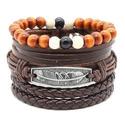 Fako Bijoux® - Armband - Leder - Set Veer - Donkerbruin