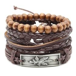 Fako Bijoux® - Armband - Leder - Set Weed - Donkerbruin