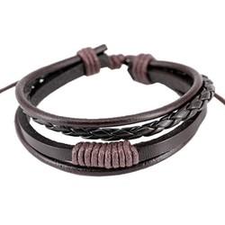 Fako Bijoux® - Armband - Leder - Strings - Bruin