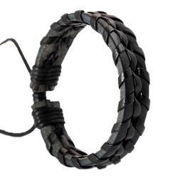 Fako Bijoux® - Armband - Leder - Twister - Zwart