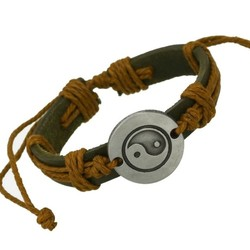 Fako Bijoux® - Armband - Leder - Yin Yang - Lichtbruin