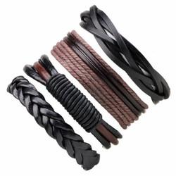 Fako Bijoux® - Armband - Leder - Set Deluxe - 4 Stuks - Bruin/Zwart
