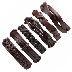 Fako Bijoux® - Armband - Leder - Set Deluxe - 6 Stuks - Bruin