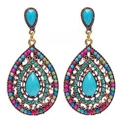 Fako Bijoux® - Oorbellen - Bohemian - Druppel - Multicolor Turquoise