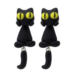 Fako Bijoux® - Oorbellen - Dansende Kat - Zwart/Geel