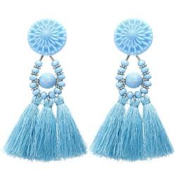 Fako Bijoux® - Oorbellen - Kwast - Boho - Lichtblauw