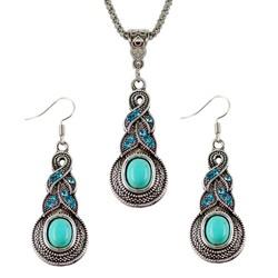 Fako Bijoux® - Sieradenset - Tibetaanse Stijl - Zilverkleurig - Pendule - Turquoise
