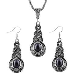 Fako Bijoux® - Sieradenset - Tibetaanse Stijl - Zilverkleurig - Pendule - Zwart