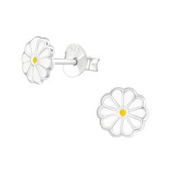 Fako Bijoux® - Kinderoorbellen - 925 Zilver - Bloem - 6x6mm - Wit