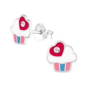 Fako Bijoux® - Kinderoorbellen - 925 Zilver - Cupcake - Kristal - 7x7mm - Roze
