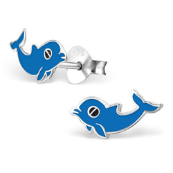 Fako Bijoux® - Kinderoorbellen - 925 Zilver - Dolfijn - 12x6mm - Blauw