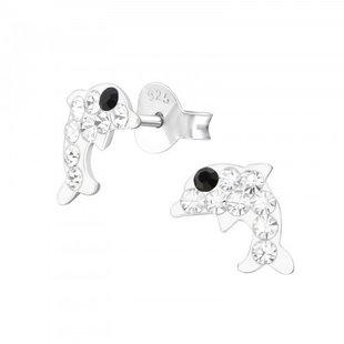 Fako Bijoux® - Kinderoorbellen - 925 Zilver - Dolfijn - Kristal - 7x8mm - Wit