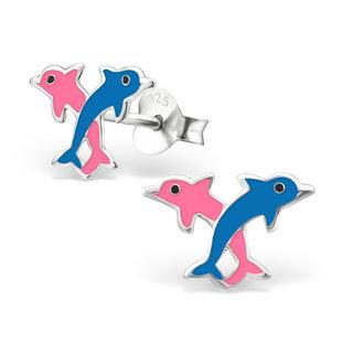Fako Bijoux® - Kinderoorbellen - 925 Zilver - Dolfijnen - 12x8mm - Blauw/Roze