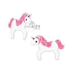 Fako Bijoux® - Kinderoorbellen - 925 Zilver - Eenhoorn - Unicorn - 15x11mm - Roze Glitter