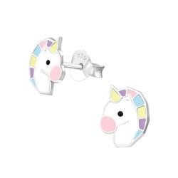 Fako Bijoux® - Kinderoorbellen - 925 Zilver - Eenhoorn - Unicorn - 6x8mm - Pastel