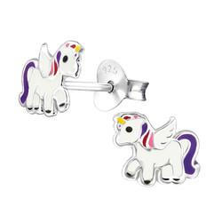 Fako Bijoux® - Kinderoorbellen - 925 Zilver - Eenhoorn - Unicorn - 8x7mm - Paars
