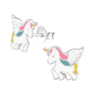 Fako Bijoux® - Kinderoorbellen - 925 Zilver - Eenhoorn - Unicorn - 9x11mm - Wit Glitter