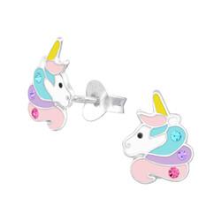 Fako Bijoux® - Kinderoorbellen - 925 Zilver - Eenhoorn - Unicorn - Kristal - 7x10mm - Pastel