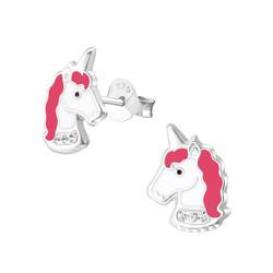 Fako Bijoux® - Kinderoorbellen - 925 Zilver - Eenhoorn - Unicorn - Kristal - 8x11mm - Roze/Wit
