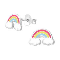 Fako Bijoux® - Kinderoorbellen - 925 Zilver - Regenboog - 10x6mm - Multicolor